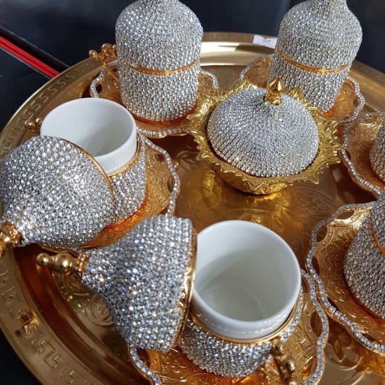 8'Li Gold Beyaz Kristal Taşlı Lokumluk Kahve Fincanı Set ceyizalisverisi.com