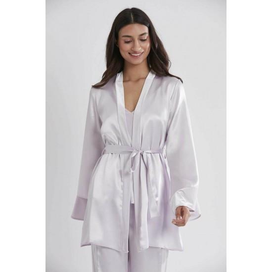 Pierre Cardin Saten 3lü Pijama Takımı 2040 Viola Renk ceyizalisverisi.com